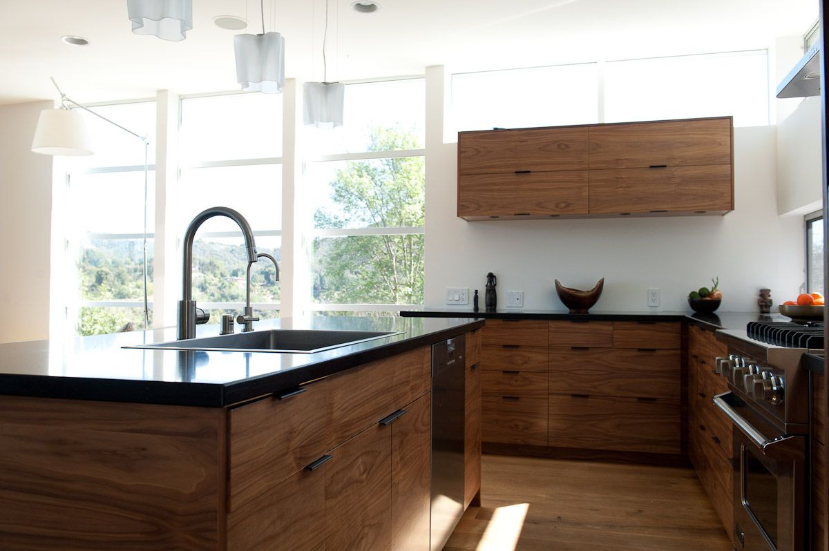 Ikea Kitchen With Semihandmade Flatsawn Walnut Fronts