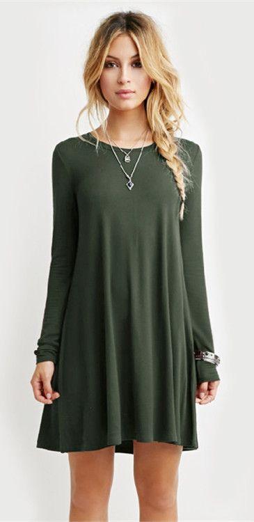Simple Round Collar Long Sleeve Dress | Dresses | Pinterest | Tunika ...