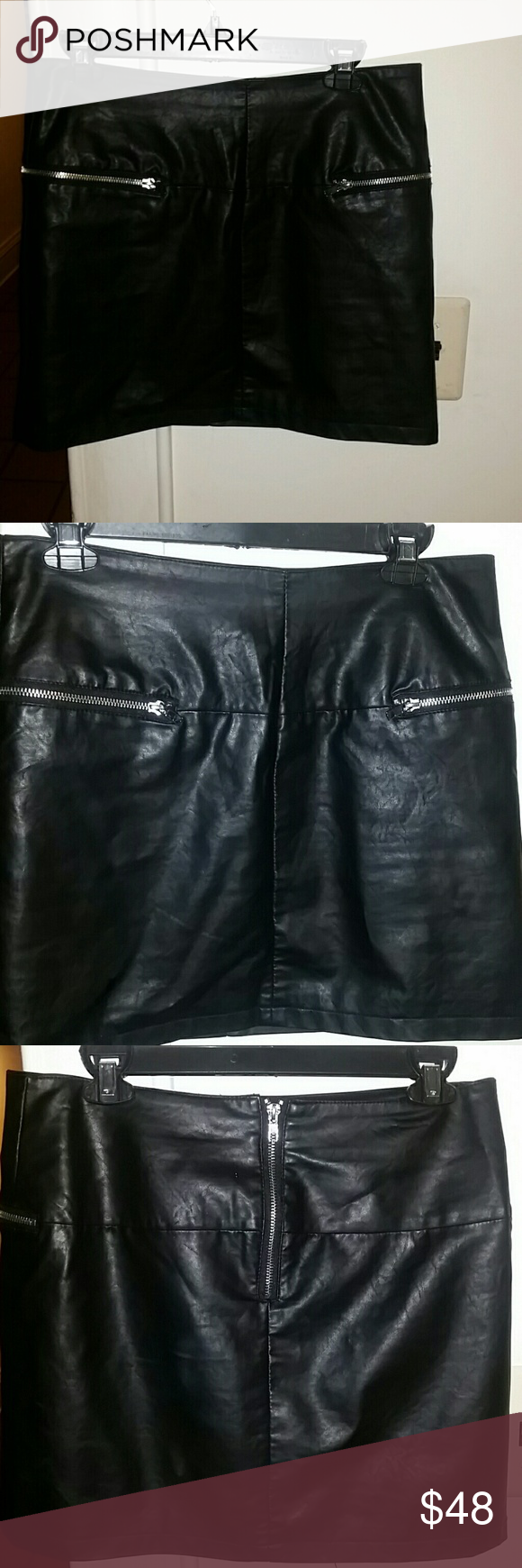 Vegan leather mini skirt❤Discounted shipping ava. Sexy, faux leather, skirt from 'Forever 21'. In great condition, only worn a handful of times. Lined, zipper in the back &2 front zippered pockets. Please refer to pics 5 & 6 for imperfections  (indents at the top from being hung on a hanger), not noticeable at all unless you're staring at wasteband  2 inches away. Smoke free, clean, pet friendly home.  ✔Price firm unless bundled -PM takes 20%😰 ✔For DISCOUNTED SHIPPING: tag me when you're…