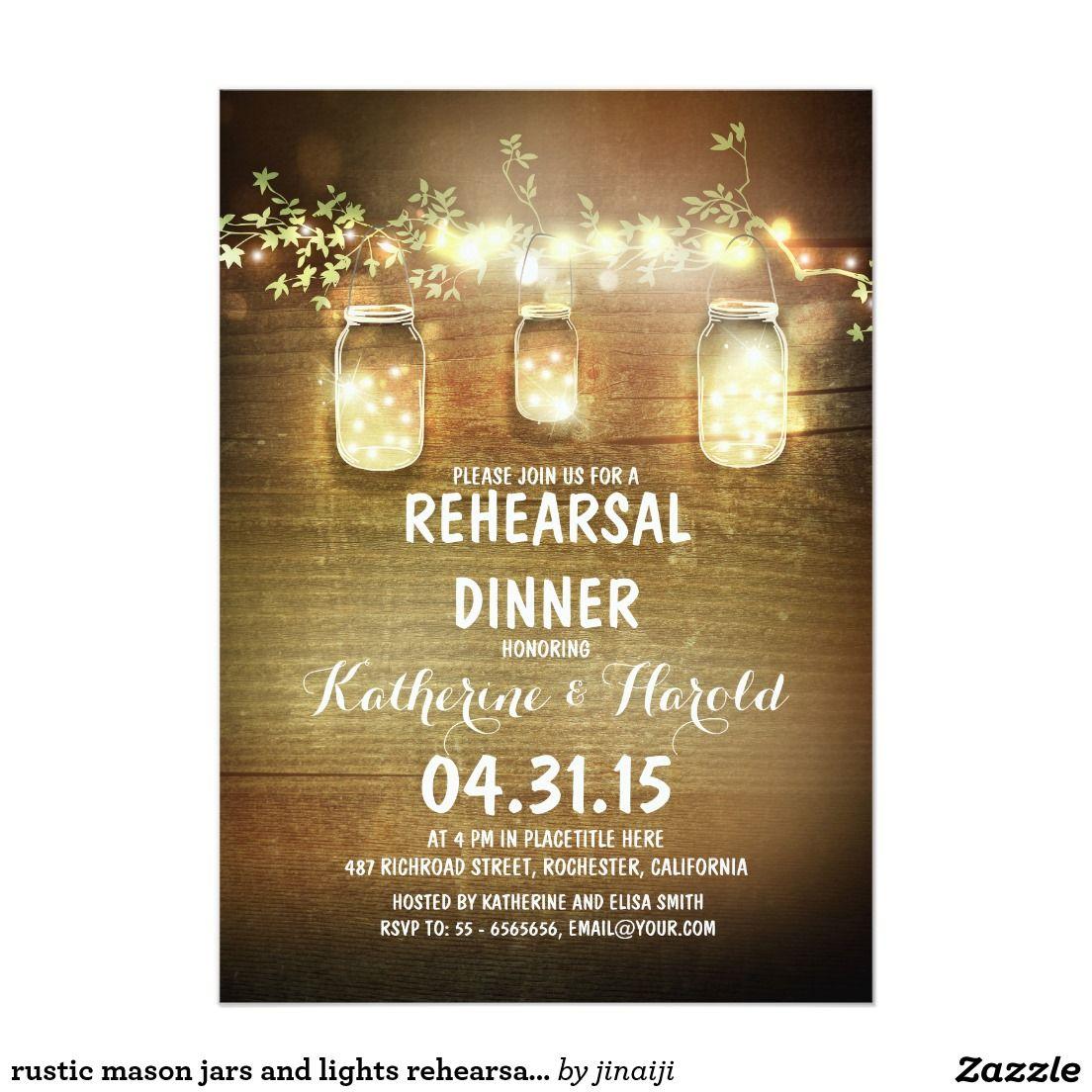 rustic mason jars and lights rehearsal dinner