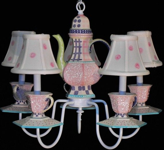 Teapot Chandelier Cups And Saucers