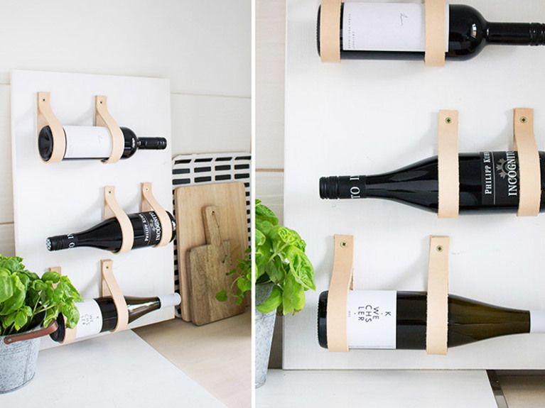 diy anleitung weinregal mit lederb ndern selber bauen via organisiertes wohnen. Black Bedroom Furniture Sets. Home Design Ideas