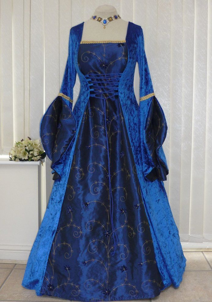 Royal Blue Renaissance Gown,Custom made to size Medieval Wedding Dress