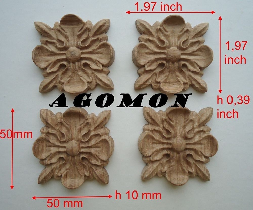 Hand carved ornamental applique small wood appliques flower