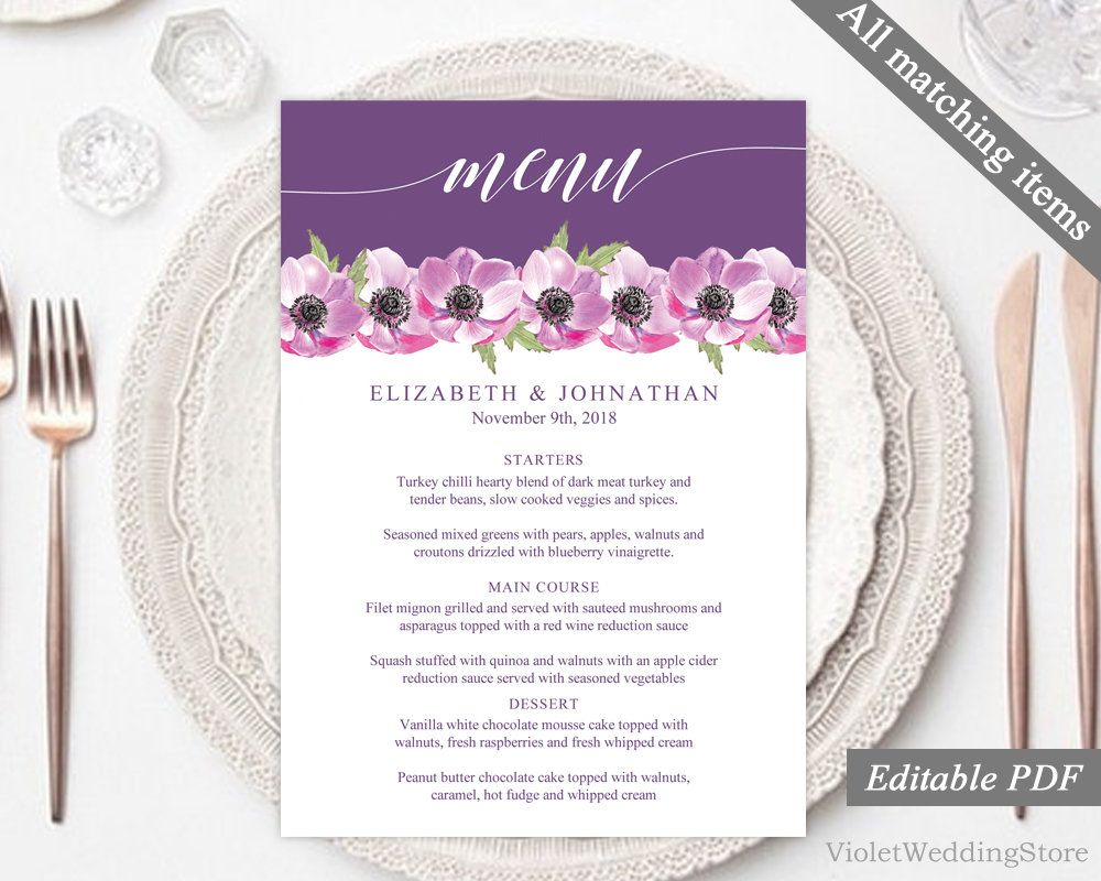 Purple anemonies floral wedding menu template printable wedding purple anemonies floral wedding menu template printable wedding menu modern pink flower wedding menu mightylinksfo
