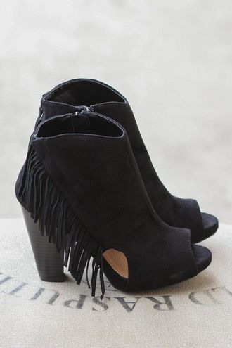 I'm Fringin' Out Peep Toe Suede Heel Booties (Black)
