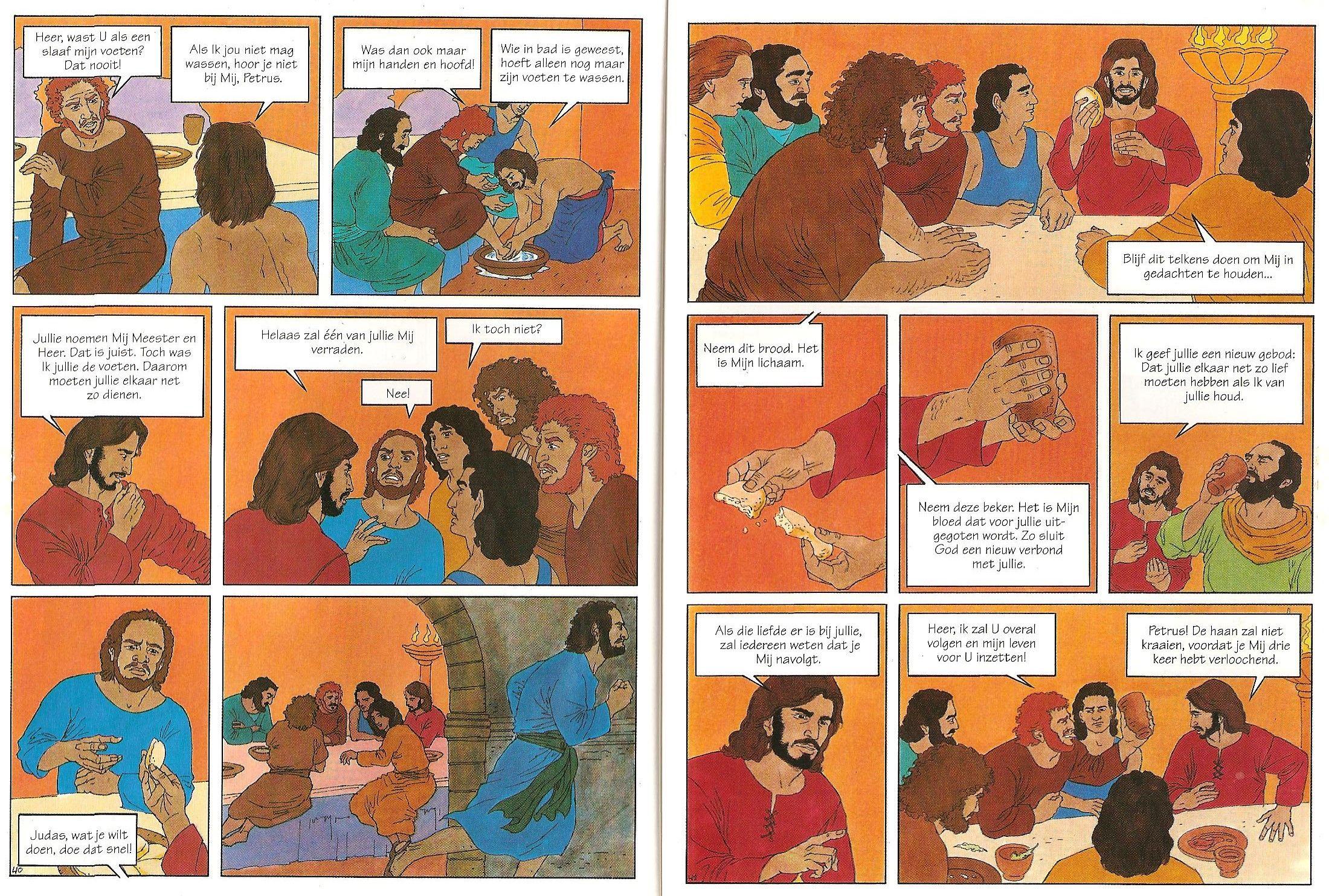 Blz40en41 Voetwassing Van Discipelen Door Jezus Laatste Avondmaal Laatste Avondmaal Kleurplaten Verhalen