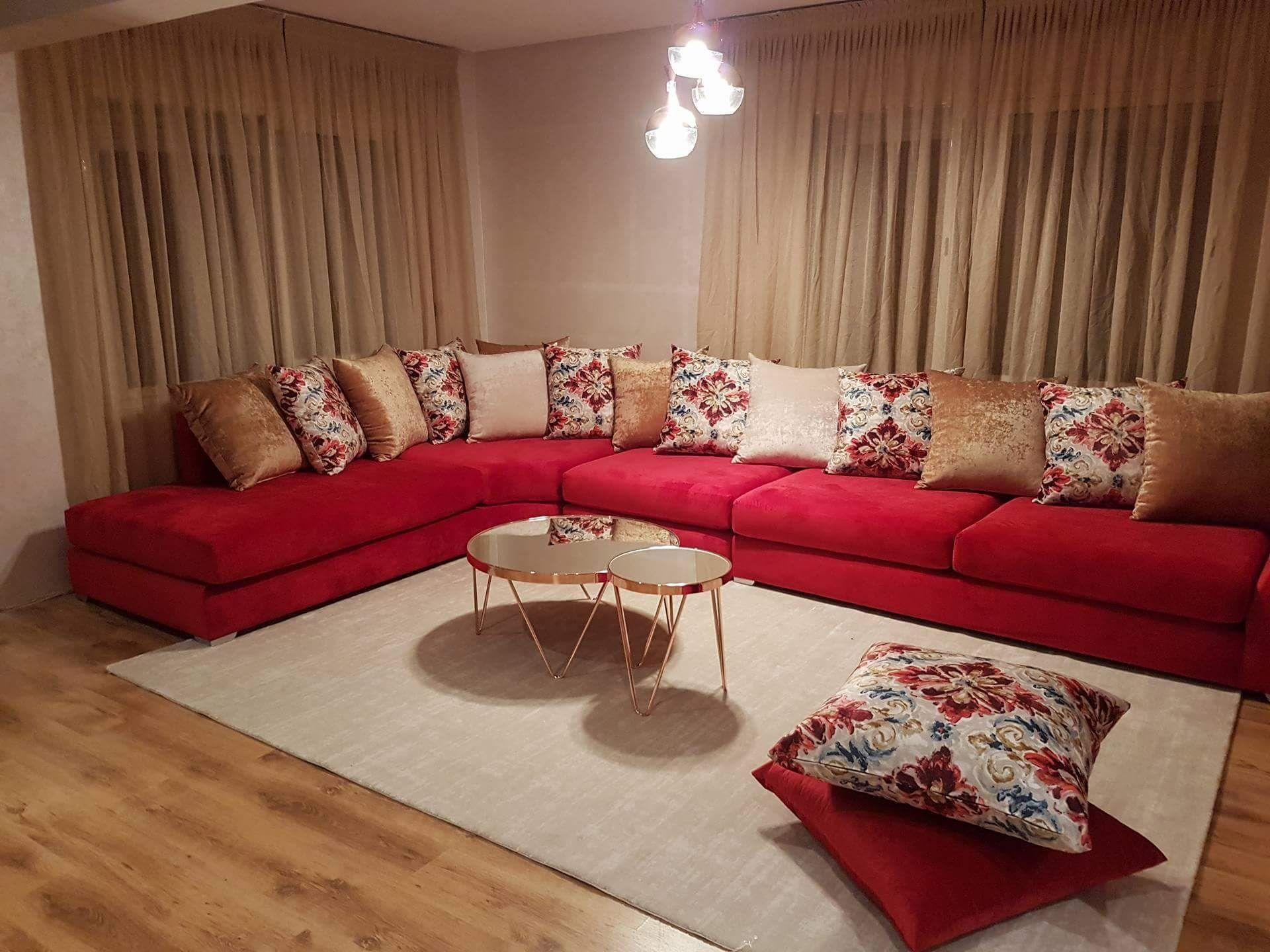 Salon moderne – salon rouge – canapé – design – Intérieur ...