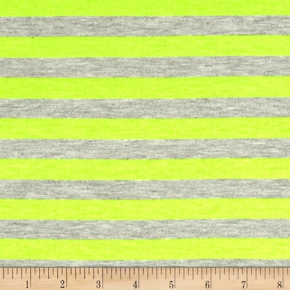 "Jersey Knit 1/2"" Stripe Heather Gray/Neon Yellow from @fabricdotcom  This lightweight rayon/polyester jersey knit fabric features a smooth hand and and a 40% stretch across this grain. It is perfect for making t-shirts, loungewear, yoga pants and more! Colors include neon green and heather grey."