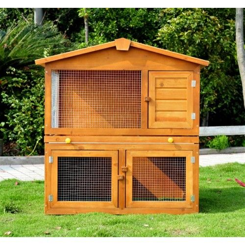 PawHut Rabbit Wooden Hutch 101cm x 55cm x 101cm Home and garden, office furniture. Rattan sets.