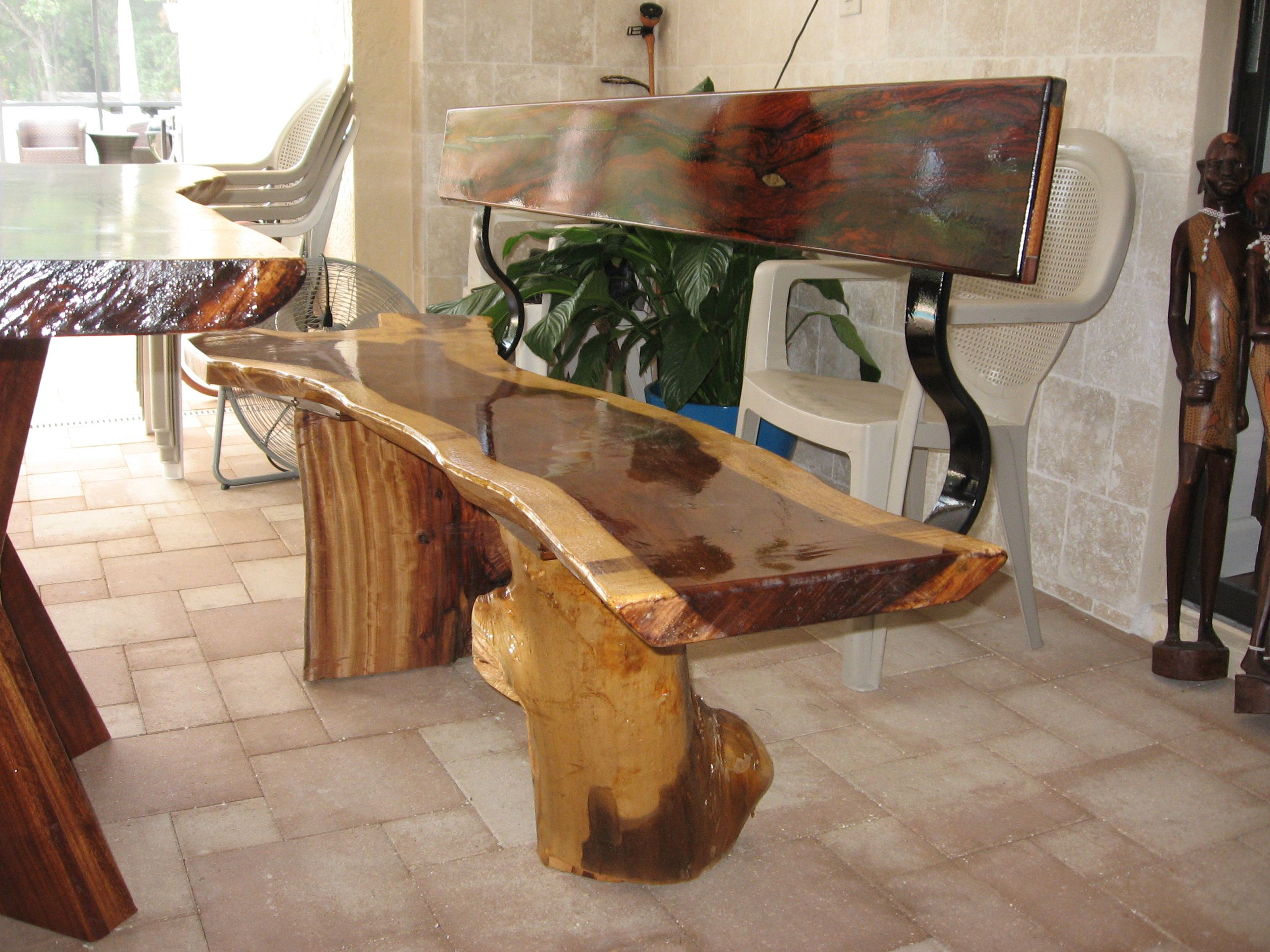 Exotic Bench From Indian Rosewood & Cocobolo Wood
