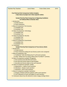 With Thi Handout Of Two Sample Point By Outline Lot Idea Teacher Can Help Student Solve Writing Skill Autobiography Comparison And Contrast Essay