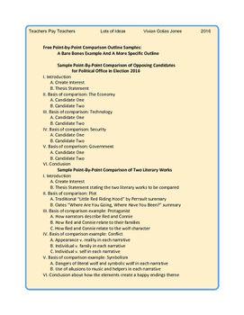 Free Comparative Analysis Outline Sample Outline Sample Essay Outline Writing Skills
