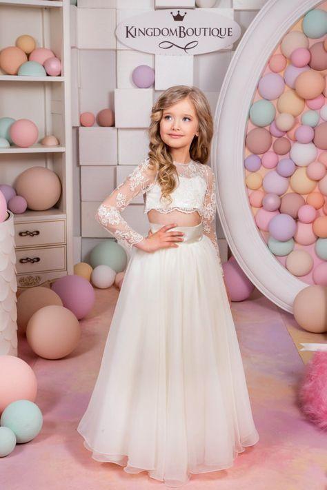 Ivory Flower Girl Dress - Birthday Wedding Party Holiday Bridesmaid ...