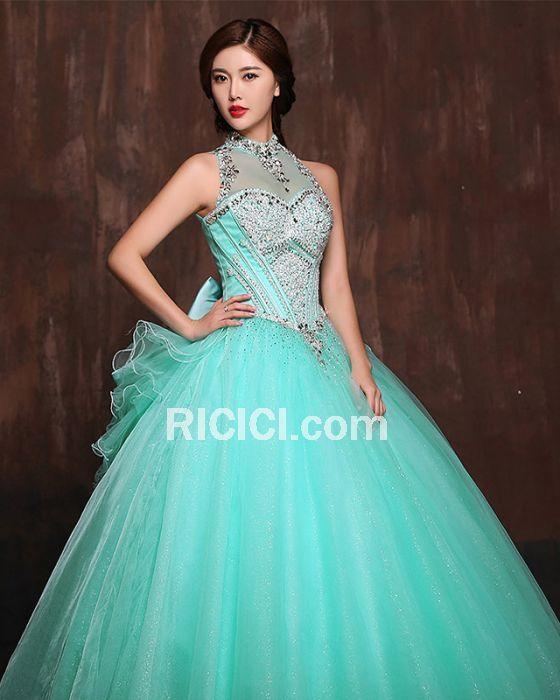 Luxus Glitzernden Ball Quinceanera Partykleider Lange Ball Gown ...