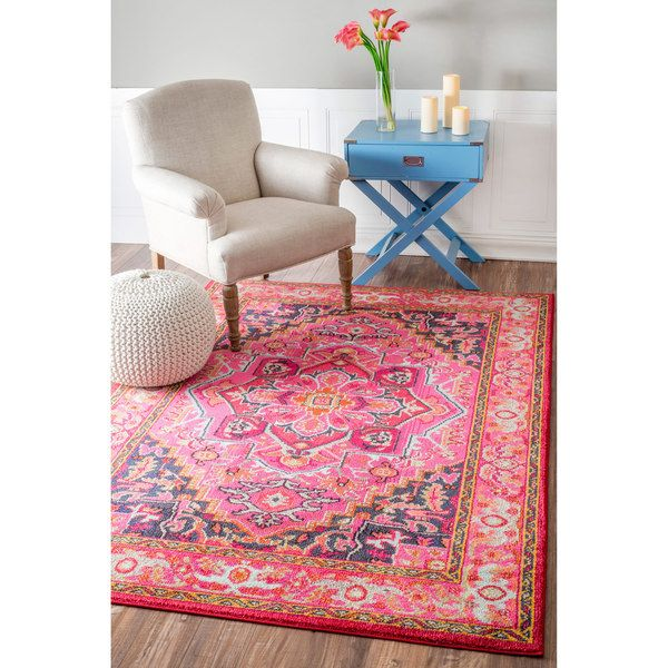 Nuloom traditional flower medallion violet pink rug 9 39 x for 10x14 bedroom