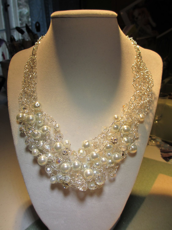 Crochet Pearl Crystal Necklace. $60.00, via Etsy.