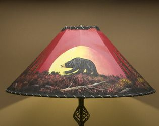 Western Painted Leather Lamp Shade 24 Moonlit Bear Painting Lamp Shades Painting Lamps Antique Lamp Shades