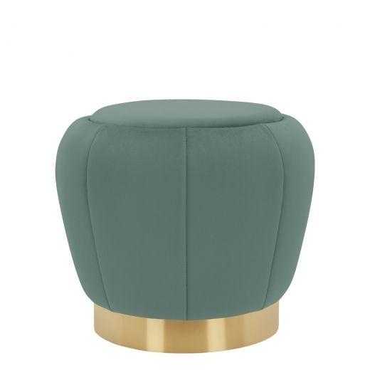 Medina Scalloped Pouffe, Velvet Upholstered, Sage Green -   16 sage green living room furniture ideas