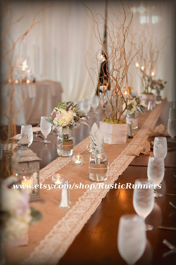 Rustic Wedding Burlap and Natural color Lace Table Runner ...