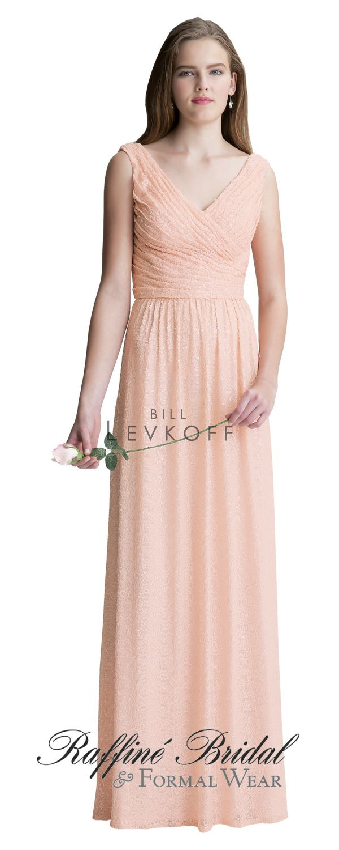 Bill Levkoff #1417 - Sequin Net V-neck surplice, sleeveless gown ...