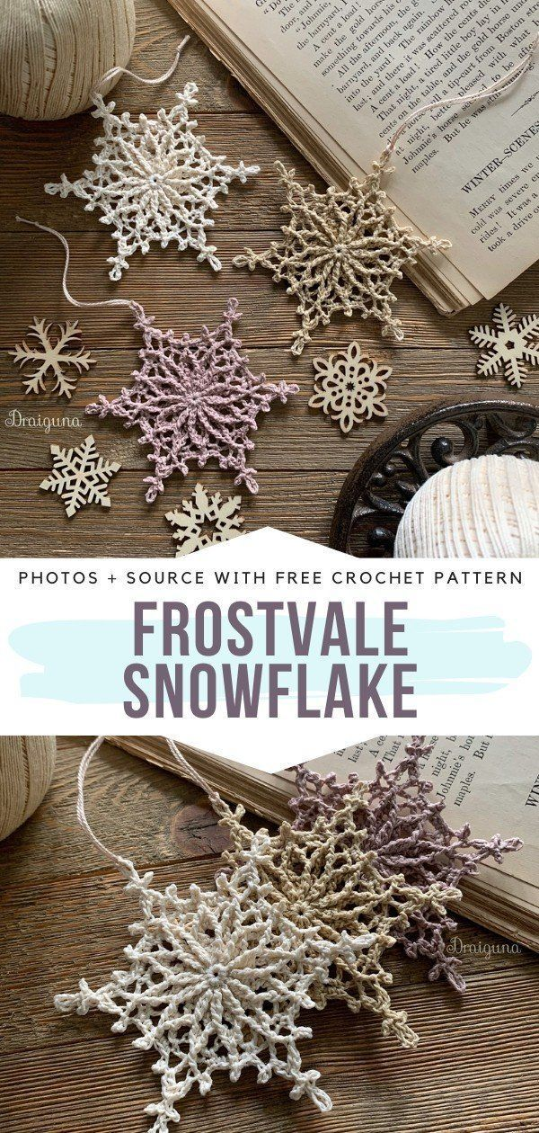 Frostvale Snowflake Free Crochet Pattern Lightweight, subtle and absolutely delightful – that's how I would describe Frostvale Snowflakes. They will look amazing on your family tree or above the fireplace this Christmas, without a doubt! And these pastel colors? So pretty! #crochetsnowflake #freecrochetpattern