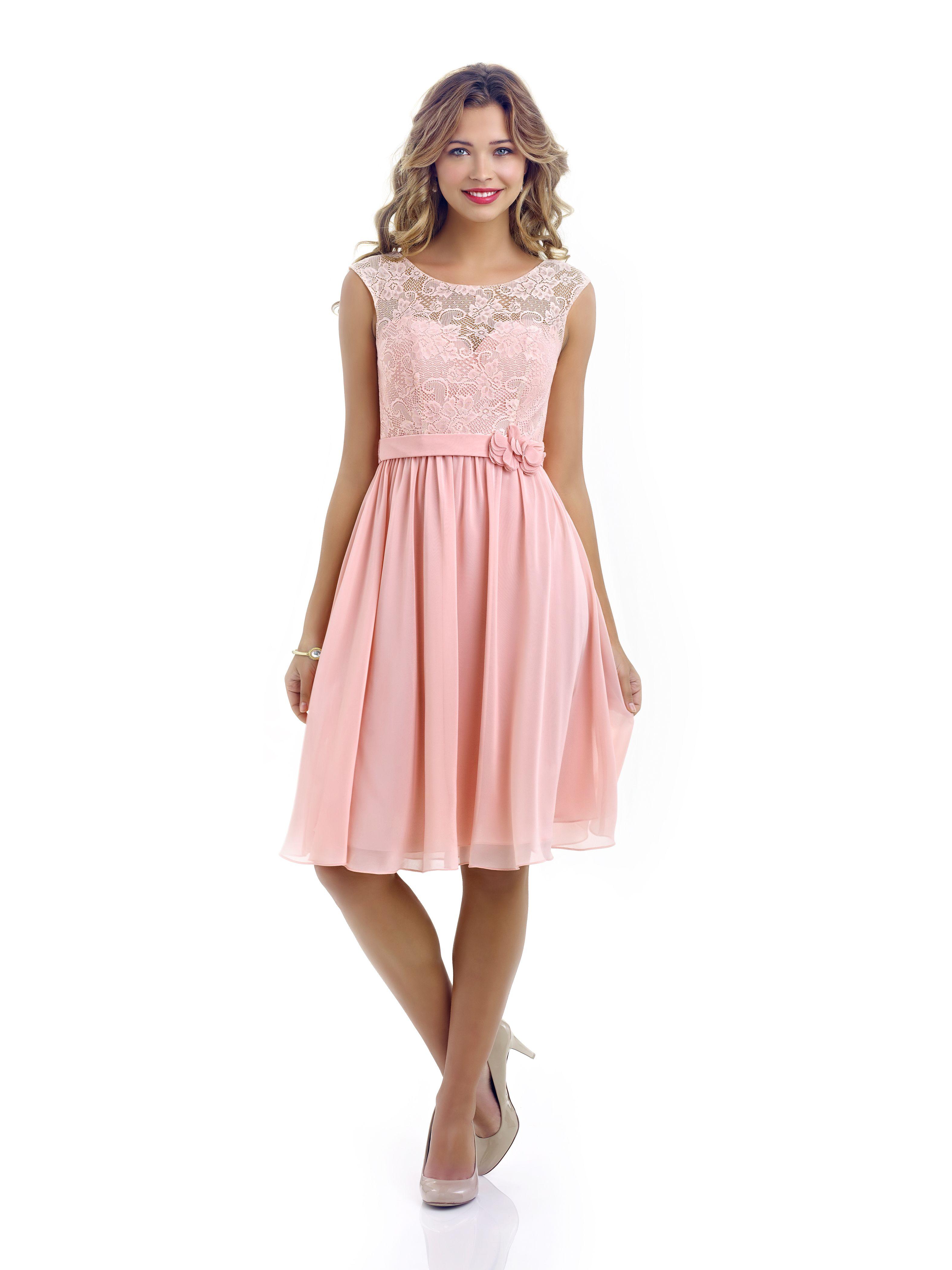chiffon bridesmaid dress with lace bodice illusion neckline