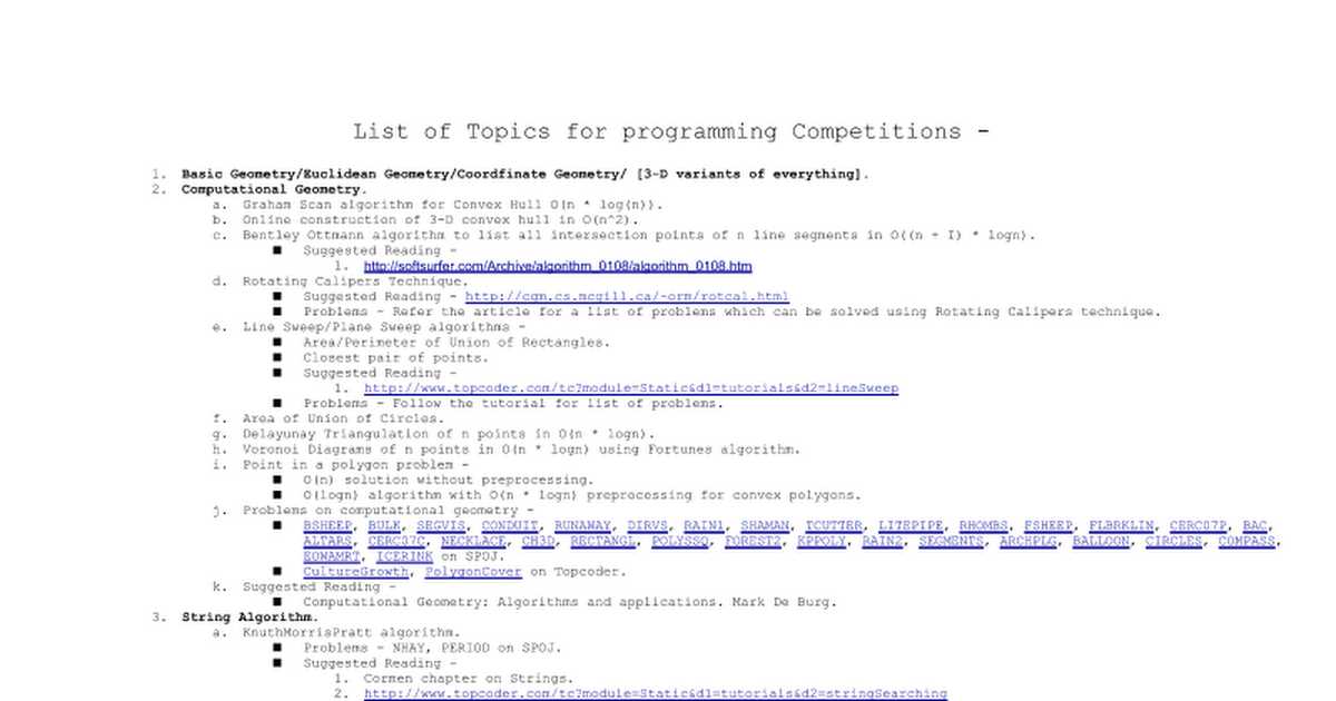 List of Topics for programming Competitions - Basic Geometry