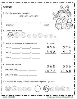 math for second grade counting money ordering numbers expanded form 3 digit addition and. Black Bedroom Furniture Sets. Home Design Ideas
