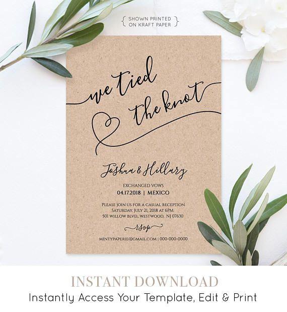We Tied the Knot Elopement Wedding Reception Template DIY Wedding Template Modern Invitation Template Elopement invitation