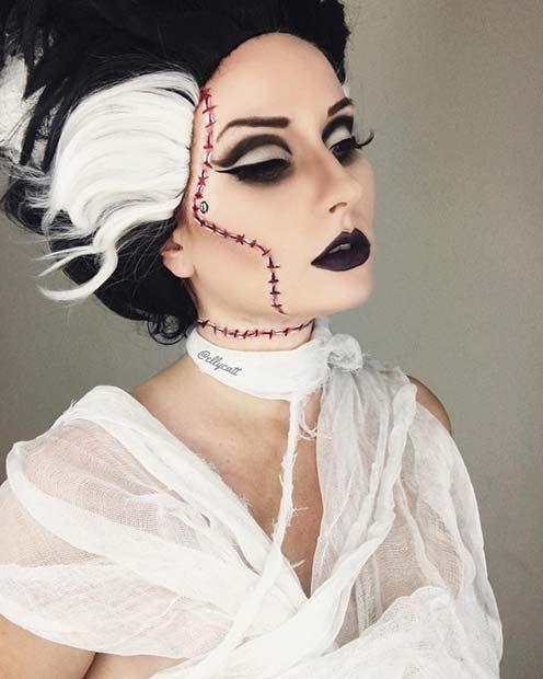 Bride of Frankenstein Halloween Makeup and Costume Idea  sc 1 st  Pinterest & 23 Best Halloween Makeup Ideas   Halloween makeup Frankenstein and ...