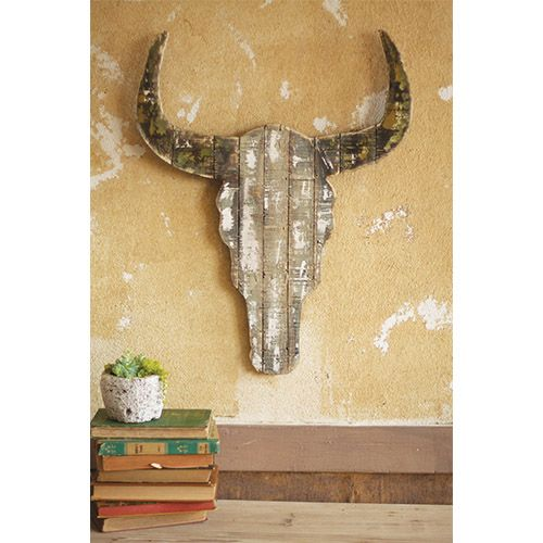 Wooden Decorative Steer Skull Kalalou Wall Sculpture Wall Decor Home ...
