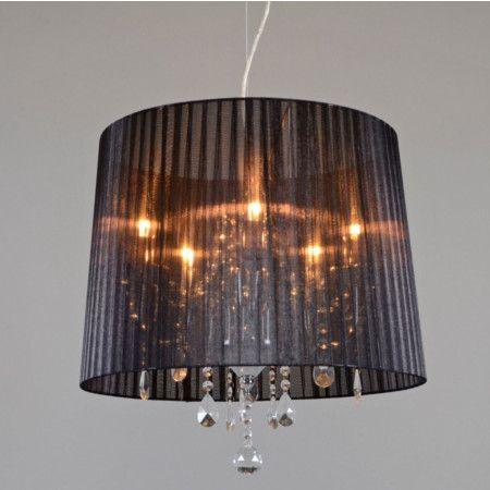 Kronleuchter Ann Kathrin 5 Chrom Mit Schwarzem Schirm #Pendelleuchte #Lampe  #Esstischlampe #