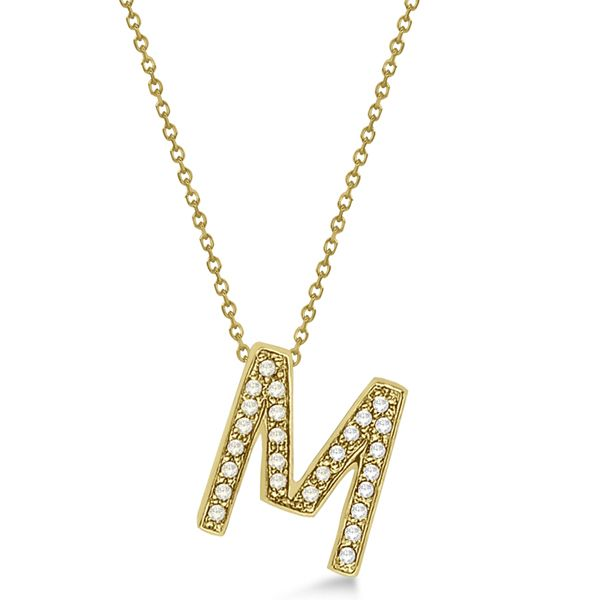 Custom Tilted Diamond Block Letter M Initial Necklace In 14k Yellow Gold In 2021 Gold Drop Necklace Initial Necklace Pretty Jewellery
