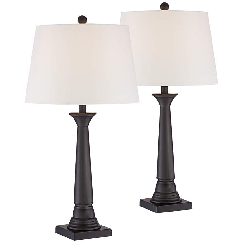 Dolbey Bronze Tapered Column Table Lamp Set Of 2 8m459 Lamps Plus Table Lamp Sets Lamp Sets Modern Table Lamp