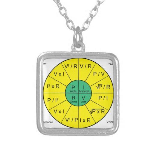 Ohms Law Wheel Square Pendant Necklace Ohms Law Square Pendant Pendant