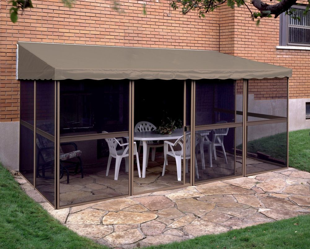 7 Ft 6 Inch X 15 Ft 1 Inch Add A Room Solarium In Sand Taupe Patio Patio Gazebo Aluminum Patio
