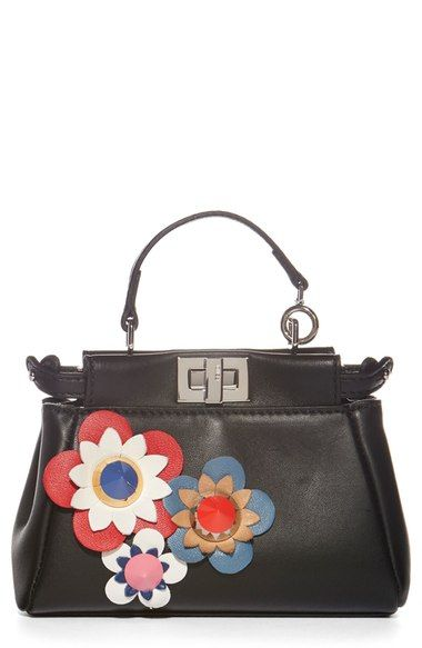 Fendi Micro Kaboo Fl Liqué Leather Bag Available At Nordstrom