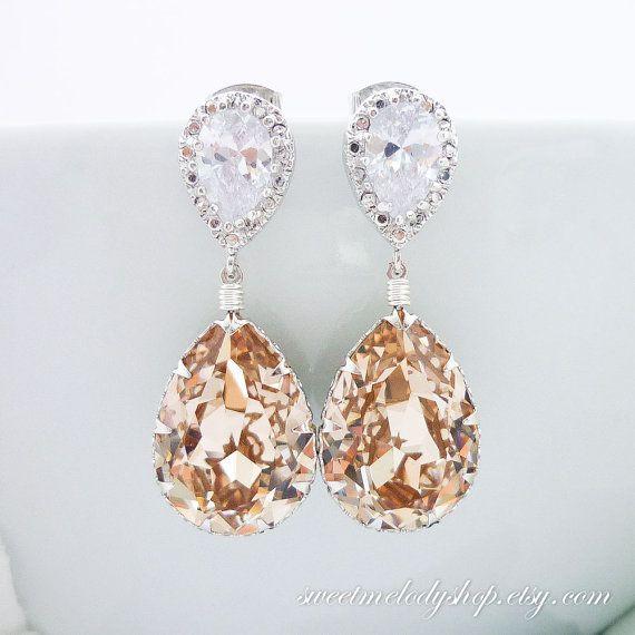 2659e791109eb5 Champagne Bridal Earrings Swarovski Crystal Light Silk Teardrop Earrings  Light Peach Dangle Earrings Cubic Zirconia