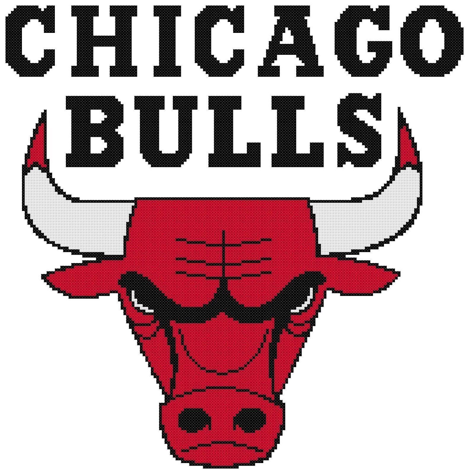5678b006fd8b Counted Cross Stitch Pattern, Chicago Bulls Logo - Free Us Shipping ...