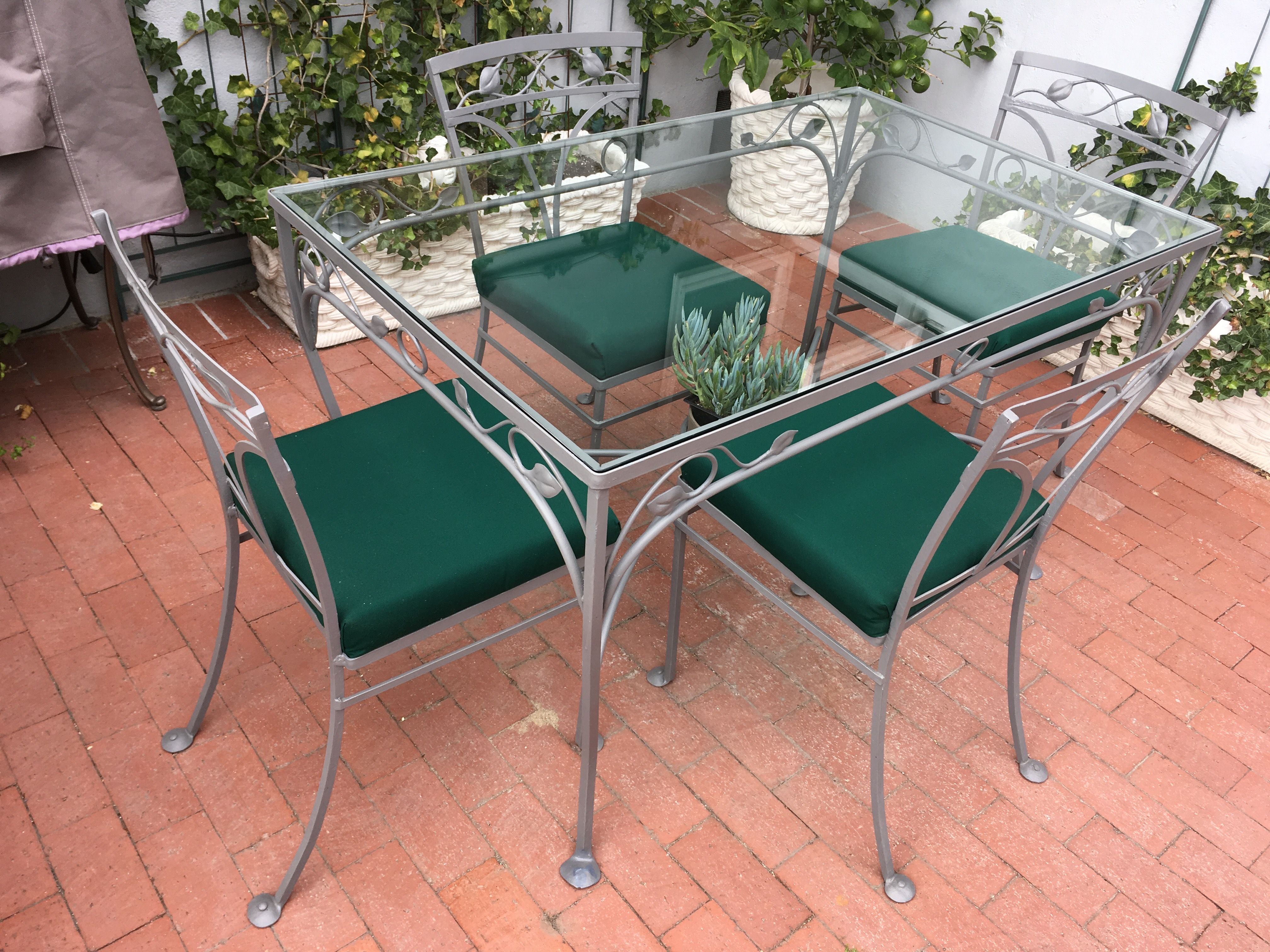 Salterini Patio Set 1945 Rose Bud Pattern Refinished In Satin
