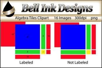 There are 16 color images in this file....and there are 2 sets- one labeled and one not labeled.Each set represents the following tiles:+1, -1, x, -x, x squared, and -x squared. These are png images that can be inserted into a product you are making.  Each image is 300 dpi.