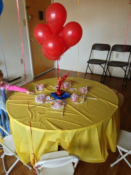 Snow White Themed Third Birthday Party Table Decor Yellow Table
