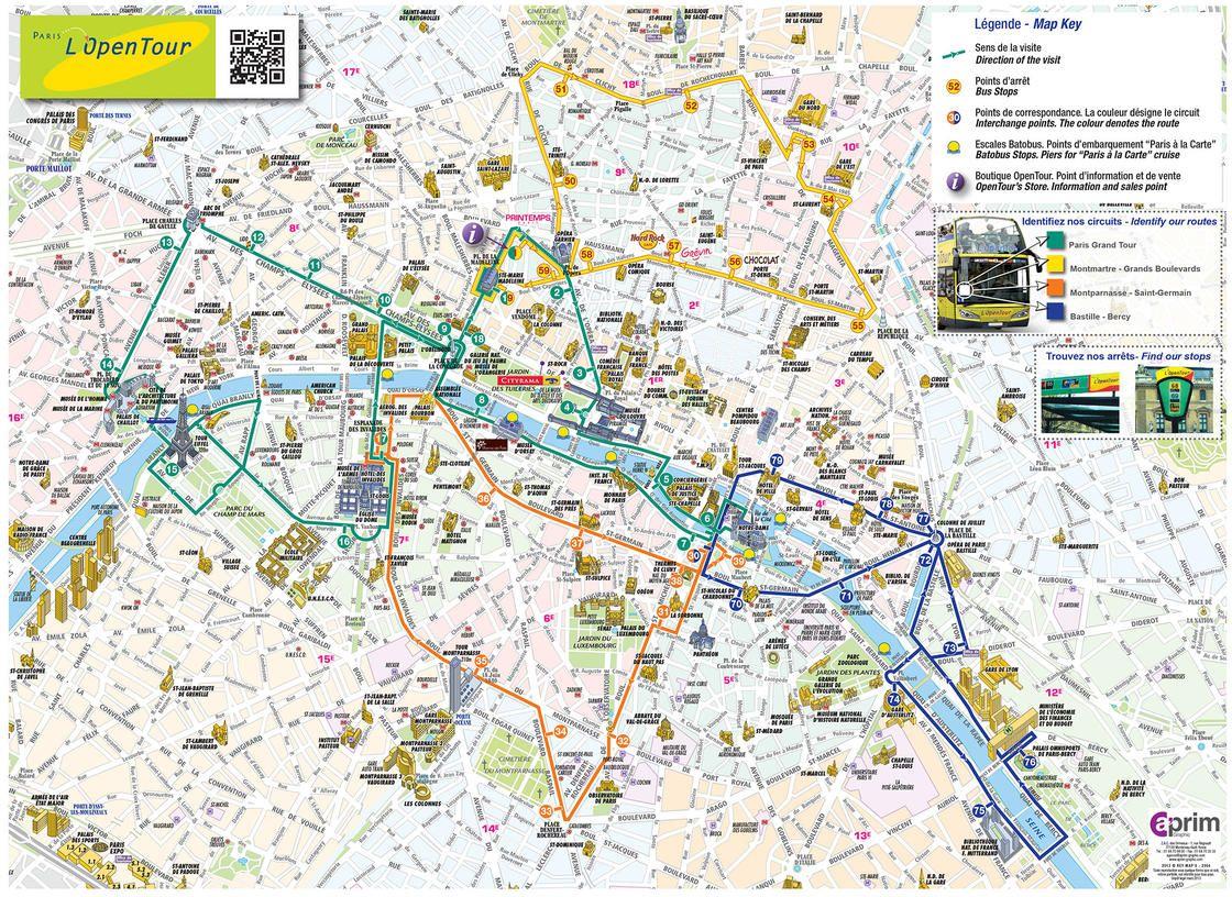 Hop On Hop Off Paris Map