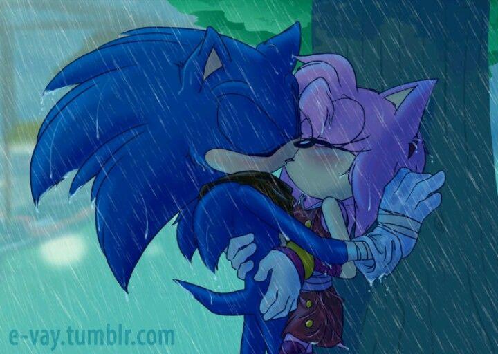 Kissing In The Rain By E Vay Sonic And Amy Sonic Art Sonic Fan Art