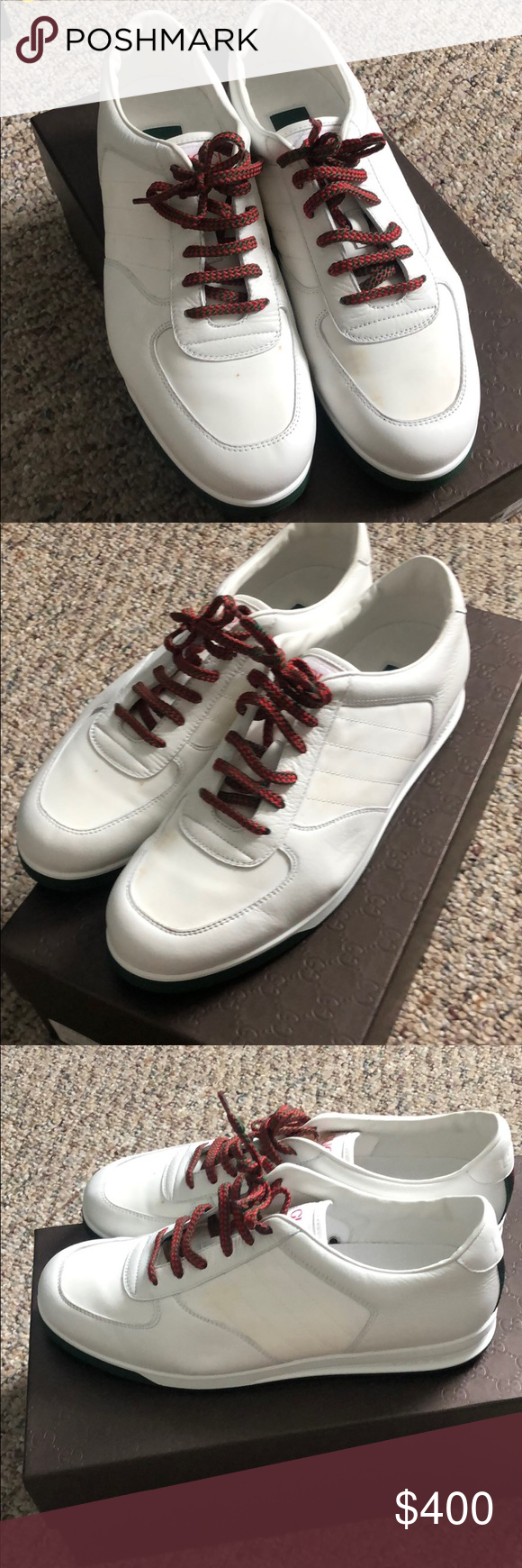 965bd6383dd Size 8.5. The white fabric part needs cleans. As shown in the photos. Comes  with box. Wore 1 time. Gucci Shoes Sneakers. Men Gucci low top SDOT ...