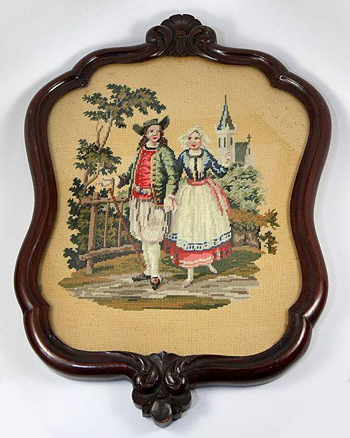 Antique Breton French Costumes, Walnut Frame, Needlepoint, Needlework