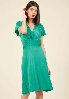 You Flutter Me So Knit Dress in Jade