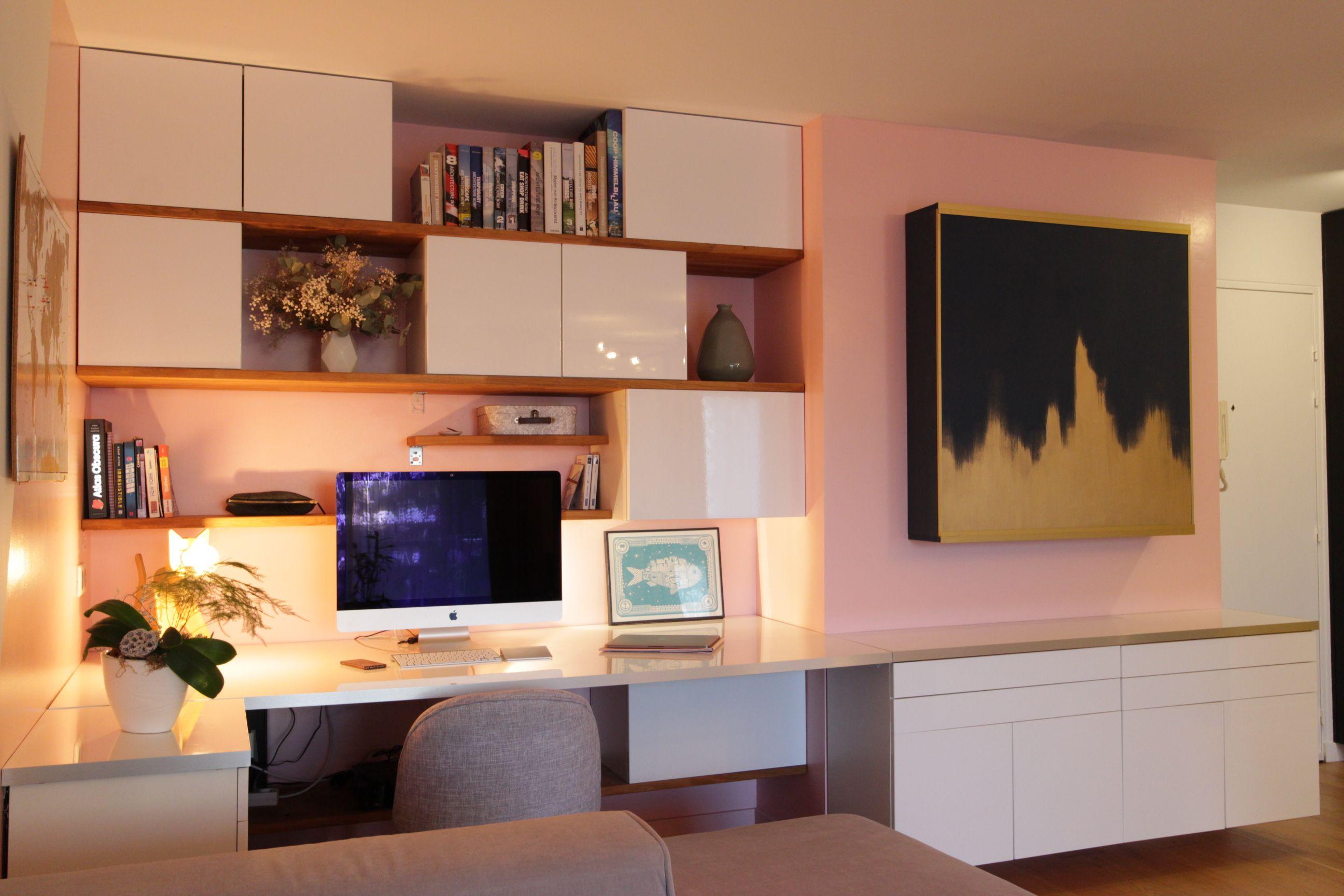 Ikea hack plans de travail et caissons de cuisines pour un bureau