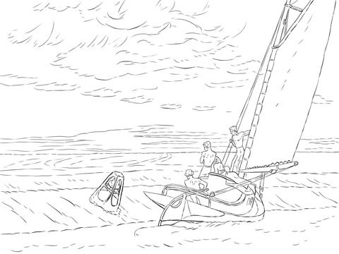 Ground Swell by Edward Hopper coloring page from Famous
